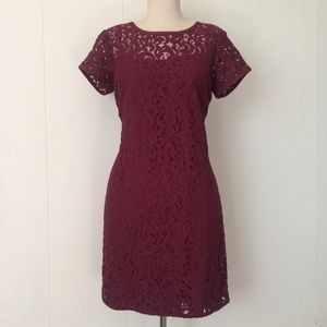 Loft Cranberry Lace Overlay Dress